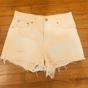 Levi's High Waited White Denim Shorts